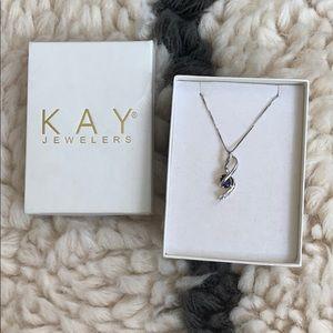 Sterling silver & sapphire pendant necklace (NIB)